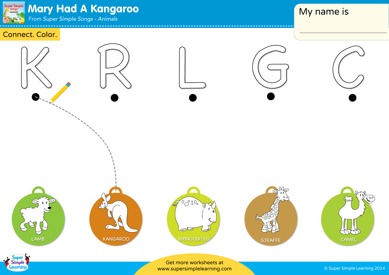 Mary Had A Kangaroo Worksheet Uppercase Letter Matching