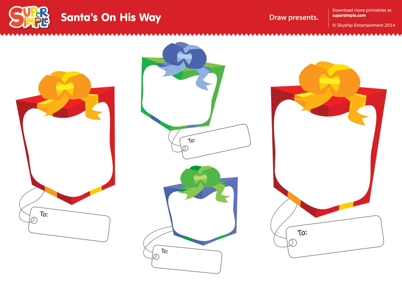 Santa S On His Way Worksheet Draw Presents
