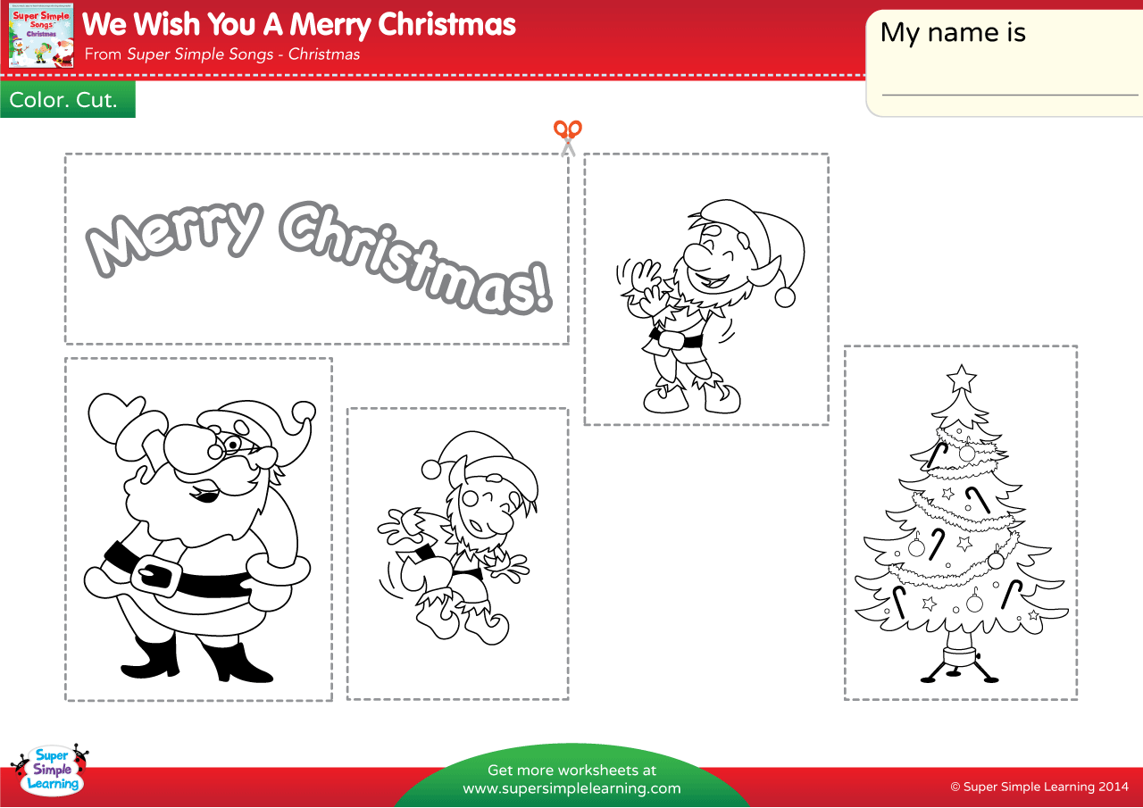 We Wish You A Merry Christmas Worksheet Color Cut