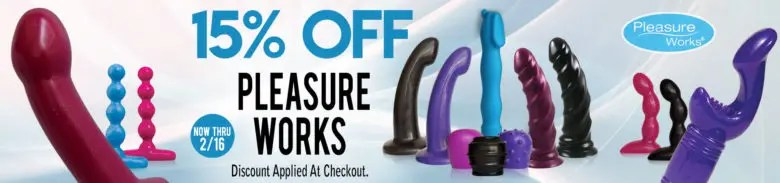 15% off Pleasure Works sex toys for Valentine's Day