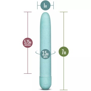 "The Blush Novelties Gaia Eco vibrator is a dainty 7"" long and 1"" wide, with a turn dial"