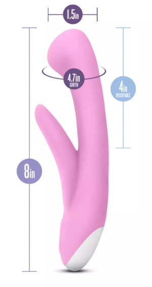 """[The Hop Cottontail Rabbit vibrator is 1.5"""" wide across / 4.7"""" around the widest point. It's 4 inches insertable and 8 inches total.]"""