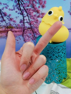 Image: Me giving the middle finger to the Emojibator Chickie