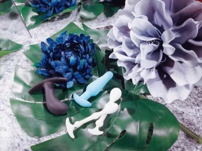 [Image: Fun Factory Bootie Small, a teal b-Vibe plug, and the Aneros Peridise plugs on a big leaf among blue and gray flowers]