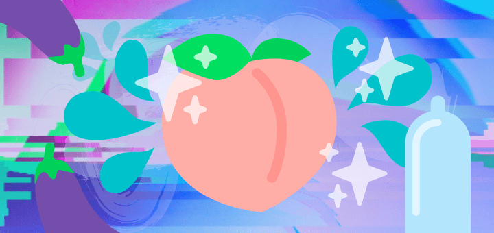 [Image: peach emoji with sparkles, splashes, eggplants, and a condom surrounding it because we all know the peach and eggplant are euphemisms]