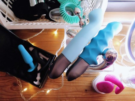 [Image: Fun Factory Stronic G and Stronic Surf on my sex toy shelf, next to butt plugs, njoy stainless steel dildos, and a pink We-Vibe Chorus]