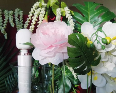 [Image: white Le Wand Rechargeable next to light pink flower, white orchids, and leaves]