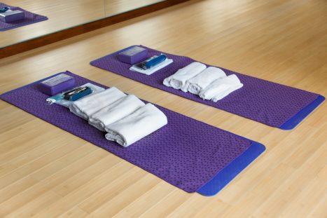 Towels, blocks, mats. Flexibility and Core Training.