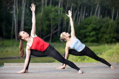 Yoga Asana. Utthita Parsvakonasana Pose. Flexibility and Core Training. Balance.