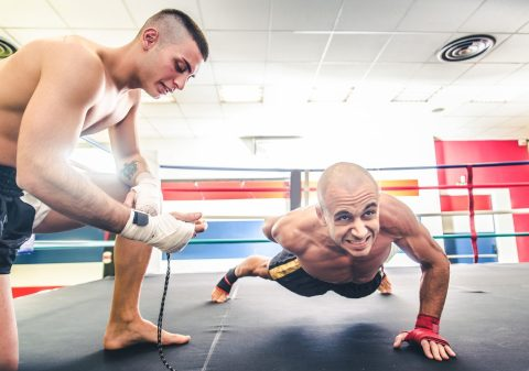 Kickboxing. Thailand. Martial Arts Training. Conditioning. Fight Club. One arm push ups.