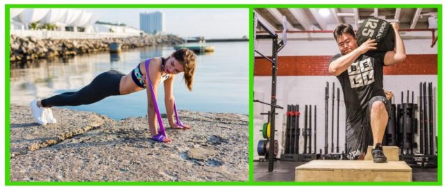 resistance band workouts arms. Sandbag carry. Loaded carries. Muscular Strength. Muscular Endurance.