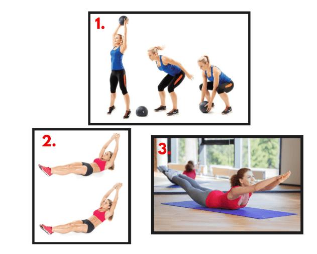 Medicine Ball Slams. Hollow Rocks. Prone Cobras. Functional training. Core exercises. Bodyweight Training.