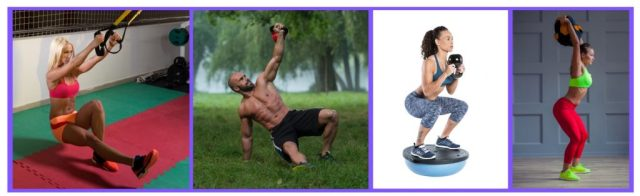 Functional training. BOSU ball squats. TRX workouts legs. Sandbag exercises.Kettlebell exercises.