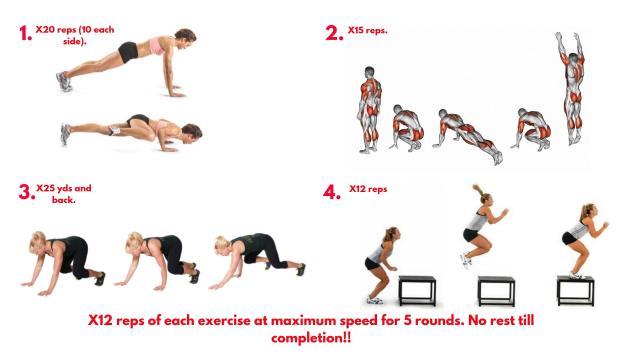 Spiderman Pushups. Burpees. Bear crawls. Box Jumps. Metcon workout.
