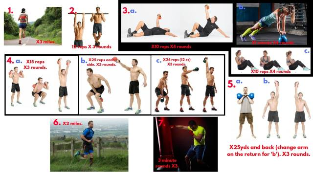 Backpack running. Chin ups. Russian Twists. Kettlebell thrusters. Kettlebell swings. Kettlebell Snatch. Heavy bag workout.