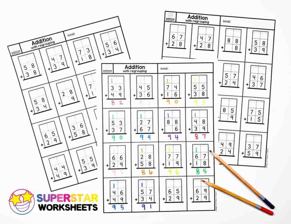 medium resolution of Addition with Regrouping Worksheets - Superstar Worksheets