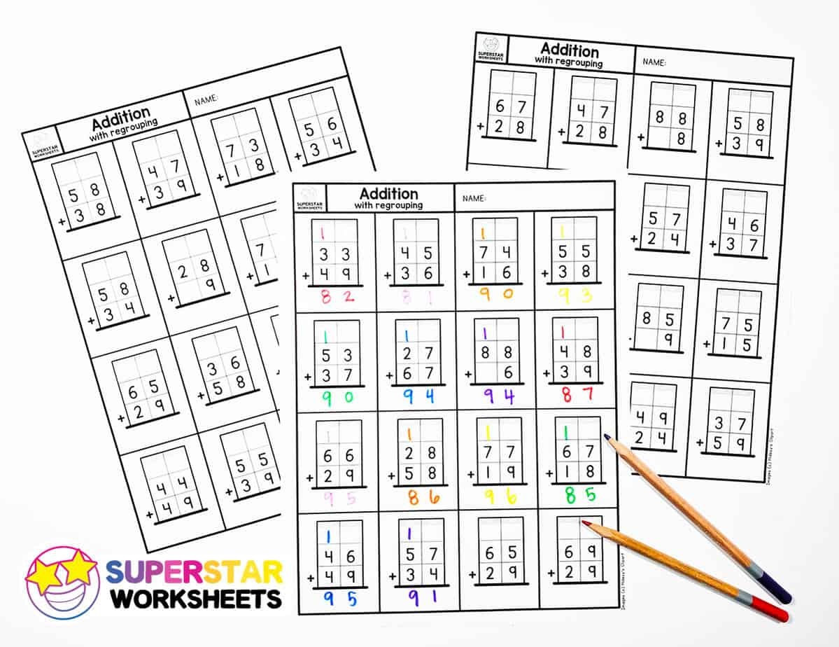 hight resolution of Addition with Regrouping Worksheets - Superstar Worksheets