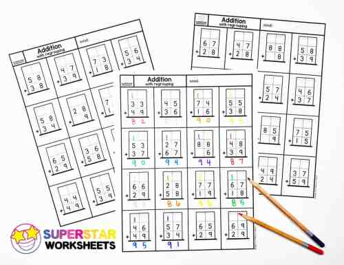 small resolution of Addition with Regrouping Worksheets - Superstar Worksheets