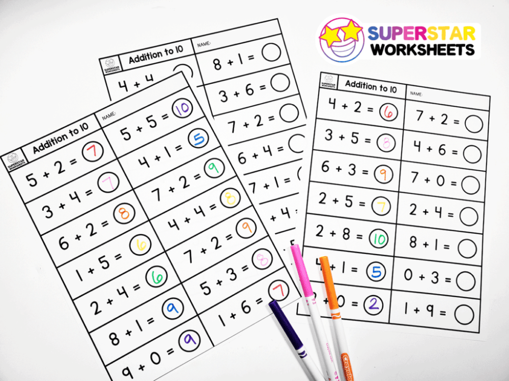 medium resolution of Single Digit Addition Worksheets - Superstar Worksheets