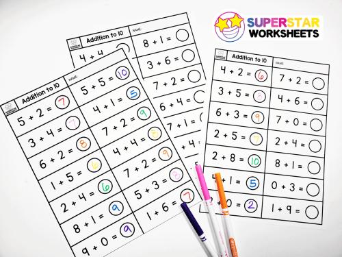 small resolution of Single Digit Addition Worksheets - Superstar Worksheets