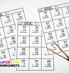 Double Digit Subtraction - Superstar Worksheets [ 868 x 1200 Pixel ]
