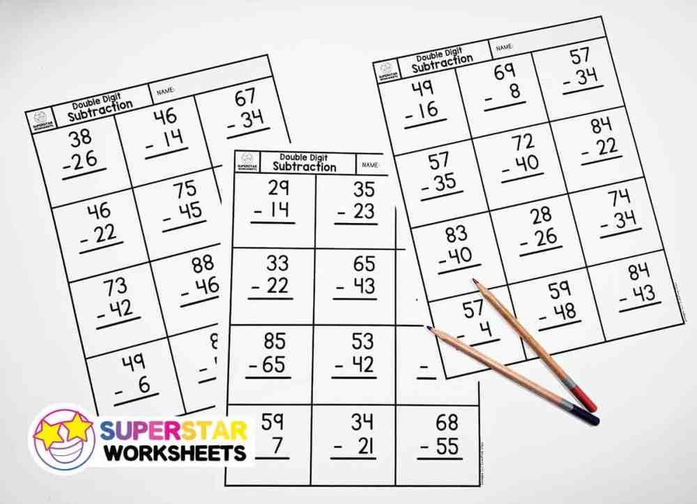 medium resolution of Double Digit Subtraction - Superstar Worksheets