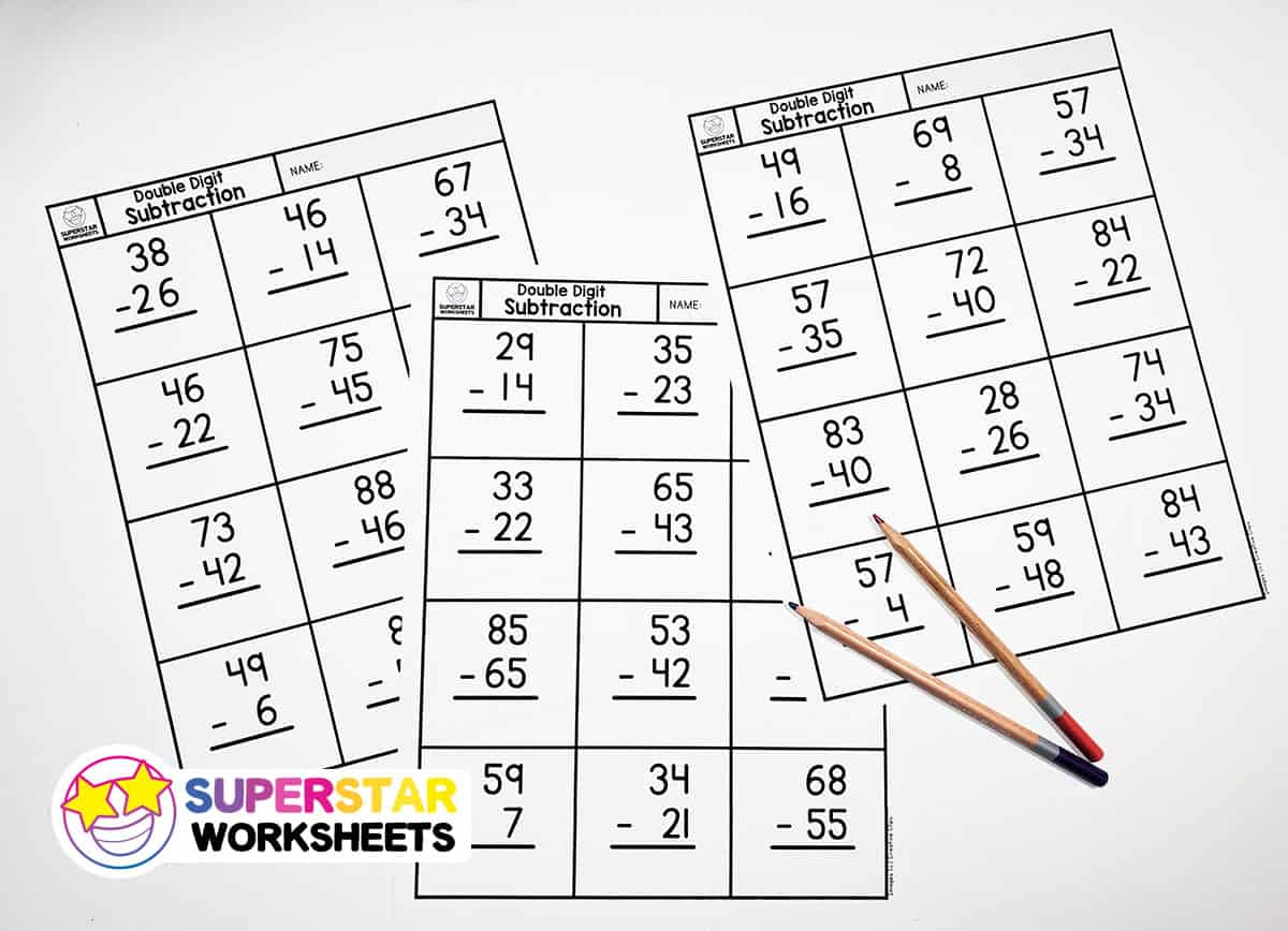 hight resolution of Double Digit Subtraction - Superstar Worksheets