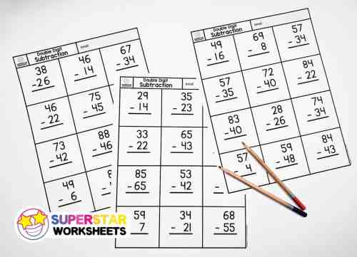 small resolution of Double Digit Subtraction - Superstar Worksheets