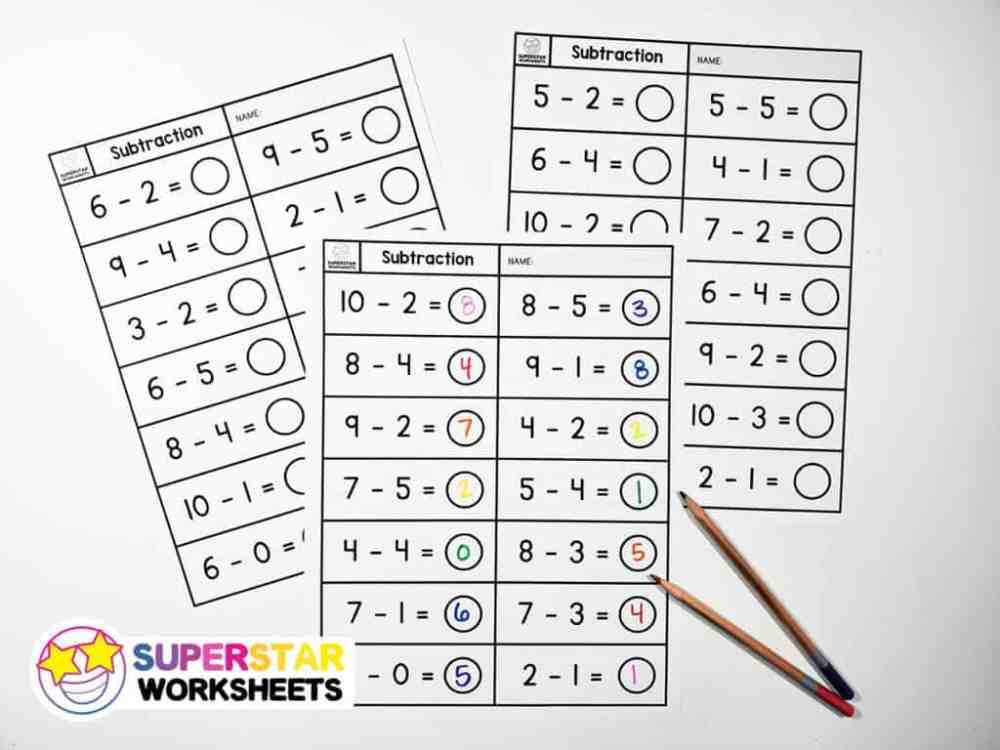 medium resolution of Subtraction Worksheets - Superstar Worksheets