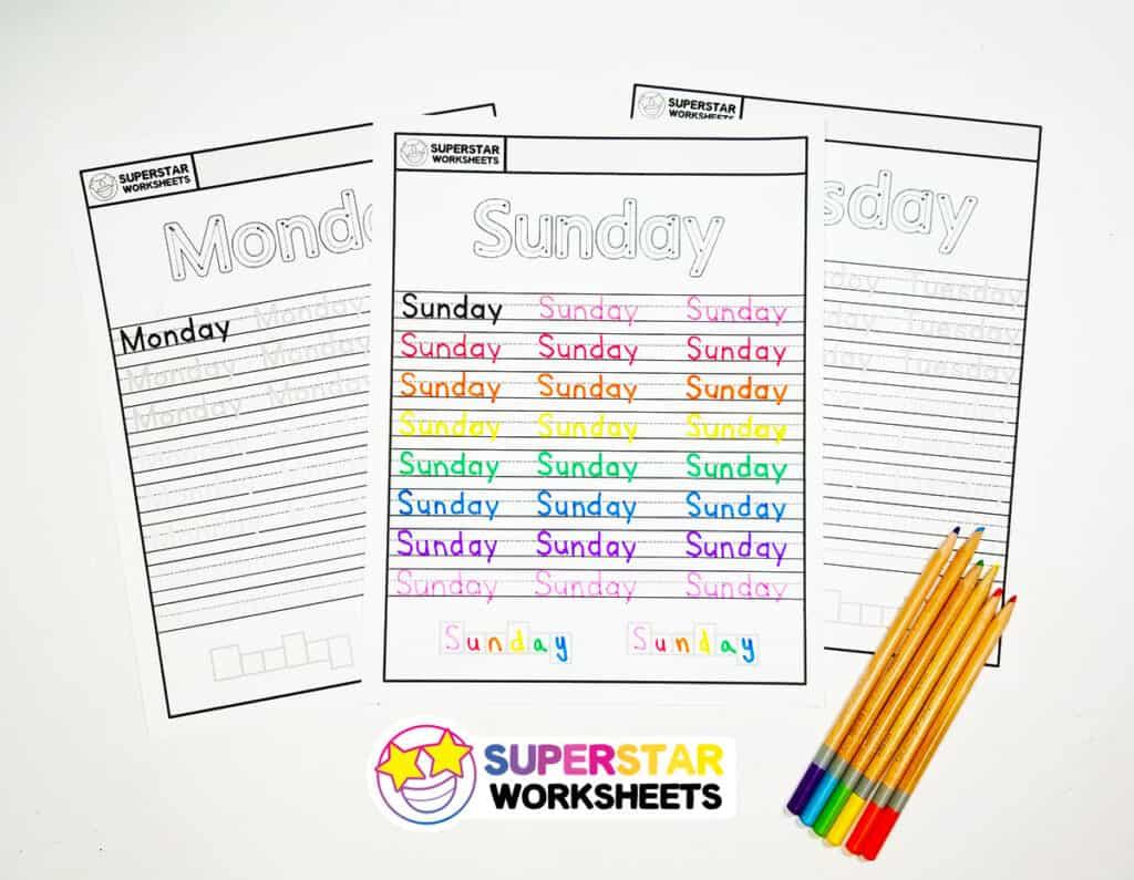 Days Of The Week Handwriting Worksheets