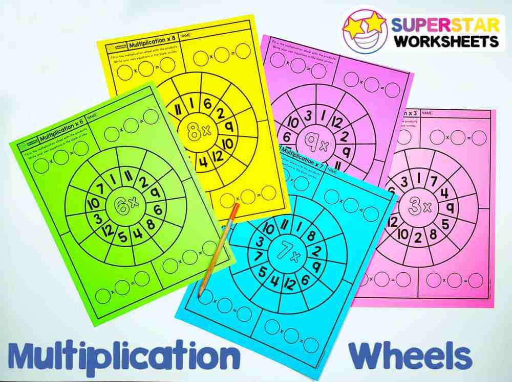 medium resolution of Multiplication Wheels - Superstar Worksheets