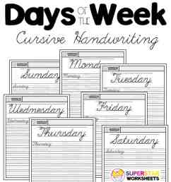 Days of the Week Cursive Worksheets - Superstar Worksheets [ 1028 x 924 Pixel ]