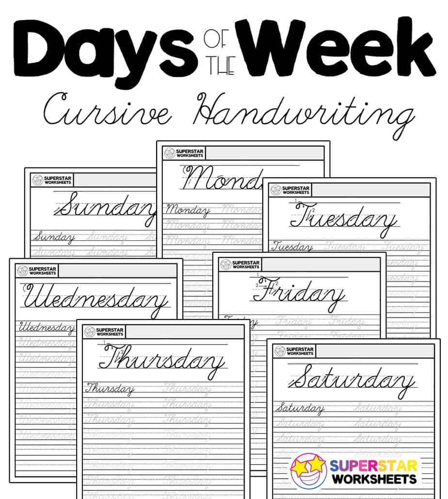 hight resolution of Days of the Week Cursive Worksheets - Superstar Worksheets