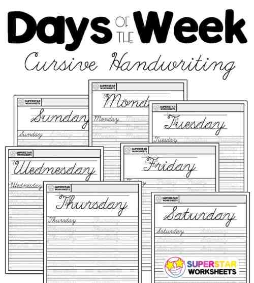 small resolution of Days of the Week Cursive Worksheets - Superstar Worksheets