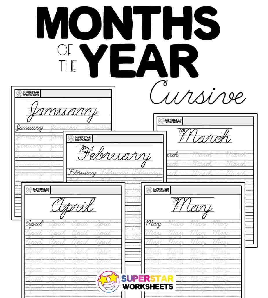 hight resolution of Months of the Year Cursive Handwriting Worksheets - Superstar Worksheets