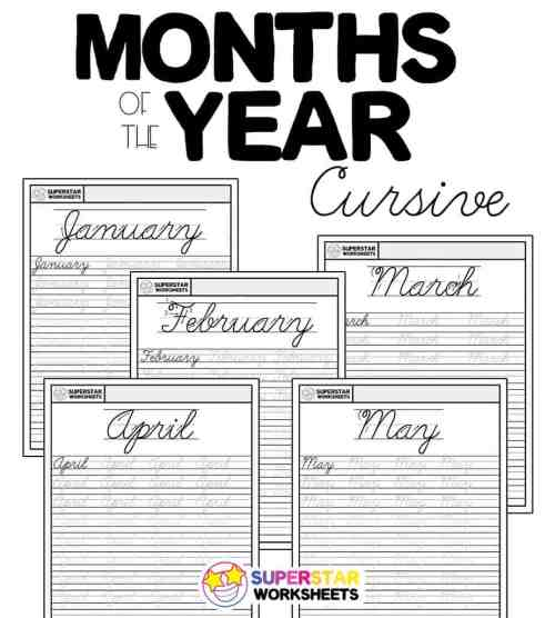 small resolution of Months of the Year Cursive Handwriting Worksheets - Superstar Worksheets