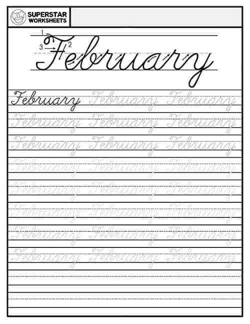 February In Cursive : february, cursive, Months, Cursive, Handwriting, Worksheets, Superstar