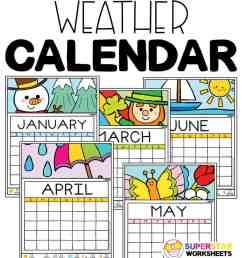 Colorful Weather Calendar - Superstar Worksheets [ 1028 x 924 Pixel ]