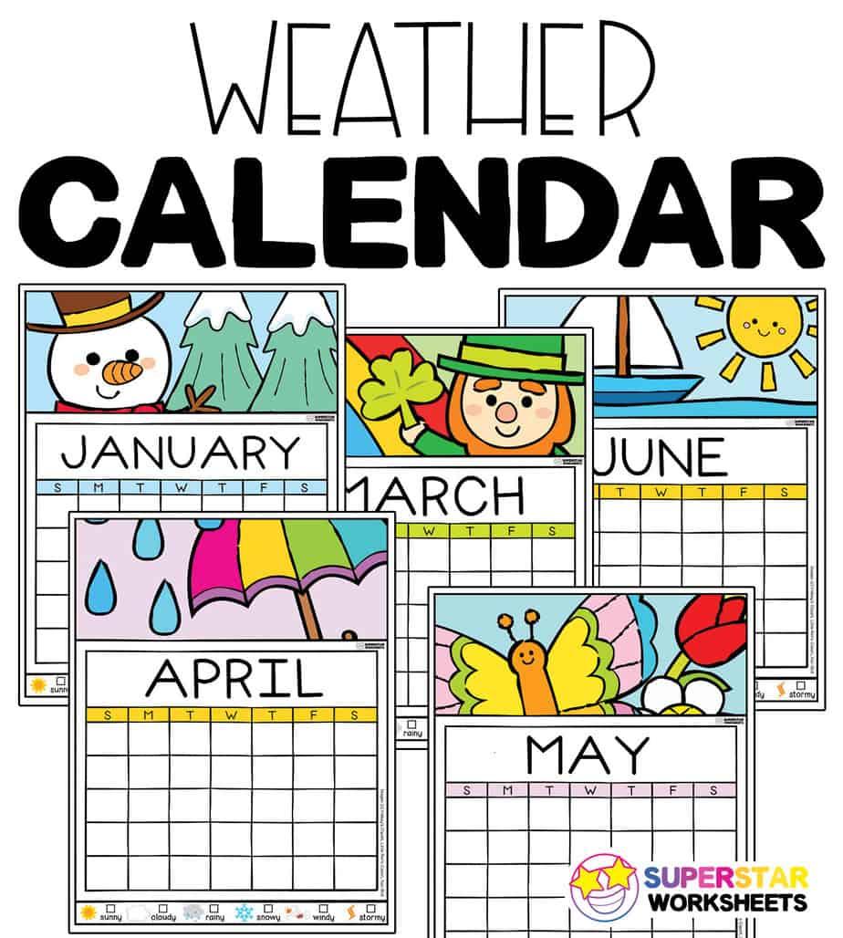 hight resolution of Colorful Weather Calendar - Superstar Worksheets