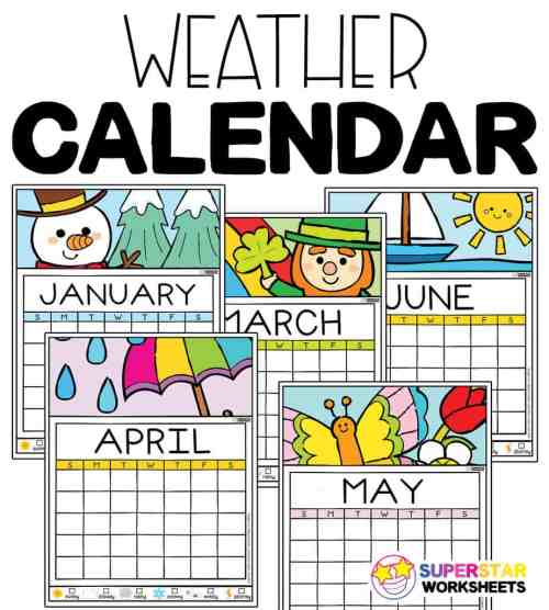 small resolution of Colorful Weather Calendar - Superstar Worksheets