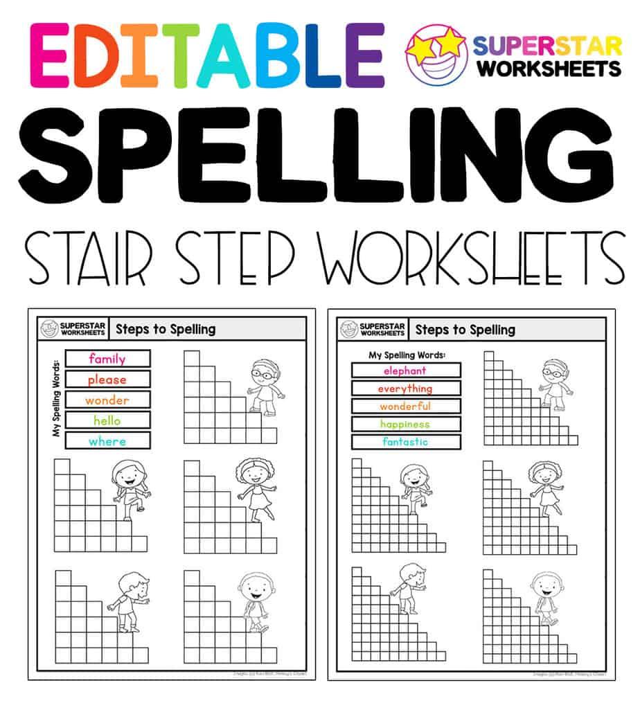 medium resolution of Stair Step Spelling Worksheets - Superstar Worksheets