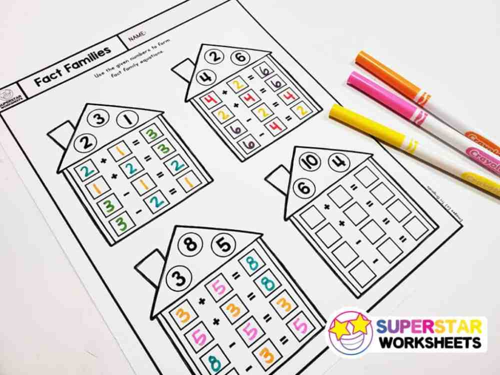 medium resolution of Fact Family Worksheets - Superstar Worksheets