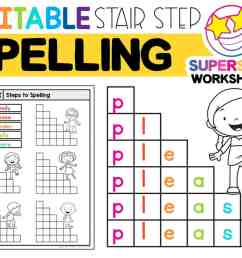 Stair Step Spelling Worksheets - Superstar Worksheets [ 850 x 1086 Pixel ]