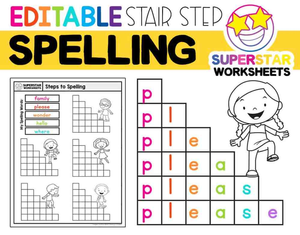 medium resolution of Stair Step Spelling Worksheets - Superstar Worksheets