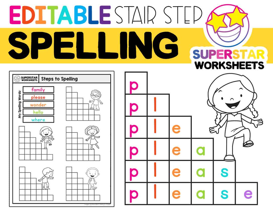 hight resolution of Stair Step Spelling Worksheets - Superstar Worksheets