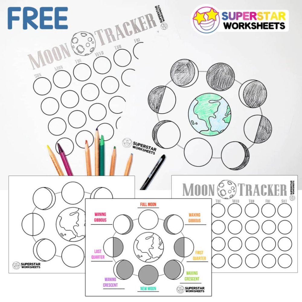 medium resolution of Phases of the Moon Worksheets - Superstar Worksheets
