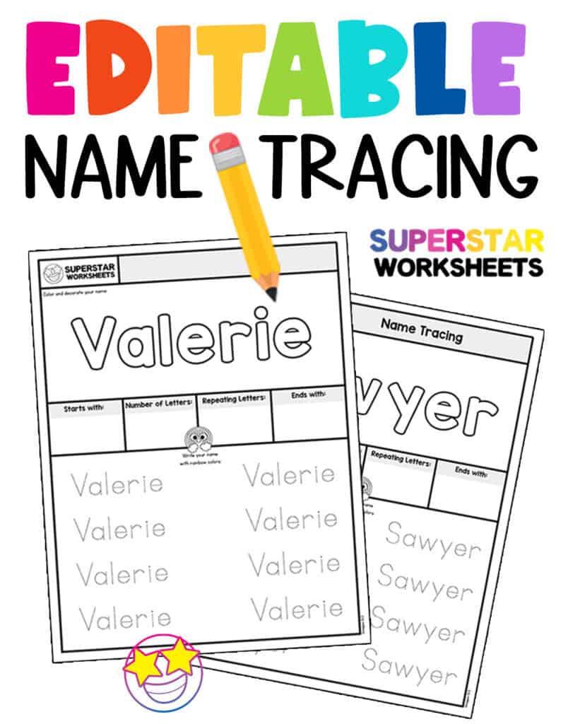medium resolution of Name Tracing Worksheets - Superstar Worksheets