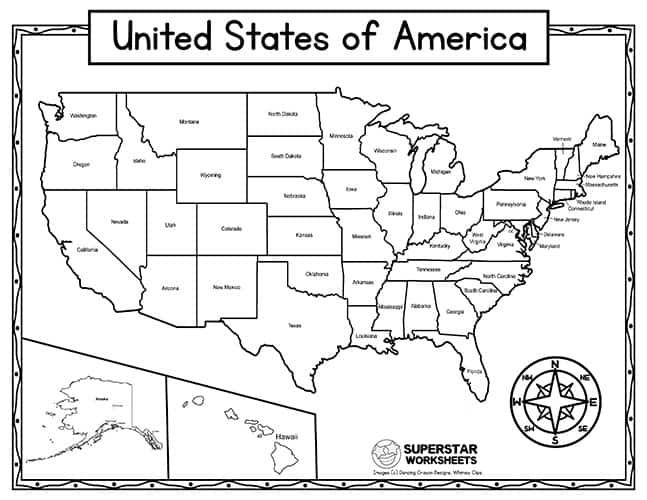 United states map quiz & worksheet: Usa Map Worksheets Superstar Worksheets
