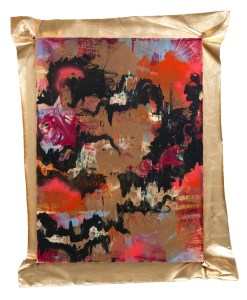 "Cardio, mixed media with imitation gold leaf, 69"" x 50.5"", 2012"