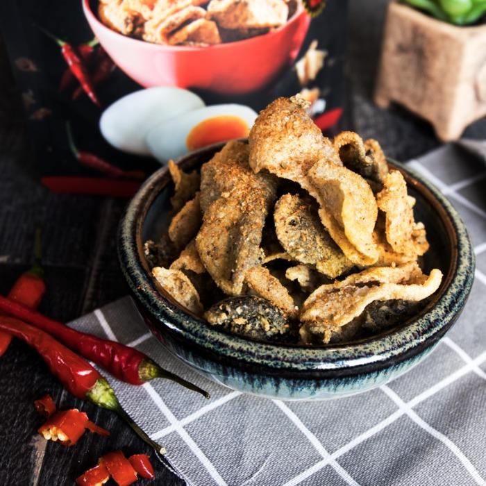 【老楊】鹹蛋黃魚皮-經典原味/香辣/泰式酸辣 (90gX5包入-1組) | 食尚玩家購物